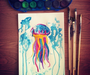 art, jellyfish, and drawing image