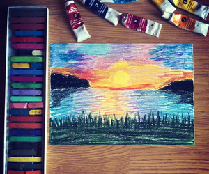 art, drawing, and sunset image