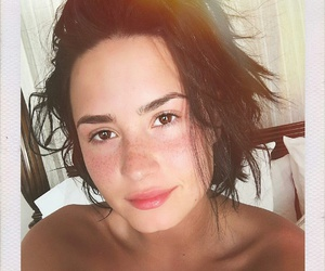 girl, no makeup, and demi lovato image