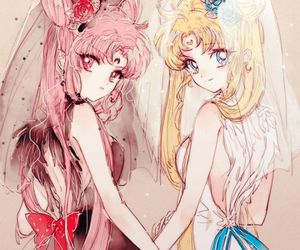 sailor moon, black lady, and chibiusa image