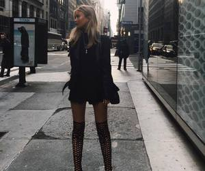 blonde, leather, and fashion image