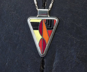 etsy, triangle pendant, and silver necklace image