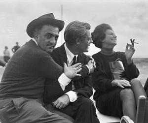 Federico Fellini, sophia loren, and marcello mastroianni image