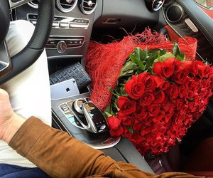 roses, bouquet, and car image