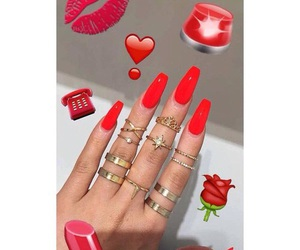 red, nails, and style image