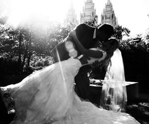 wedding, kiss, and wedding dress image