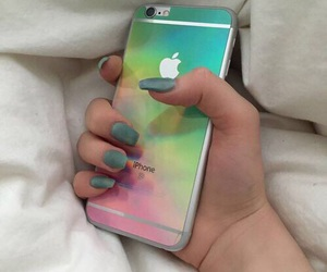 iphone, nails, and rainbow image