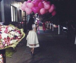 girl, fashion, and balloons image