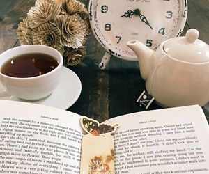 book, tea, and watch image