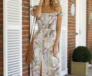 boho chic, off the shoulder dress, and festival style image