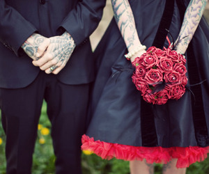 couple, tattoo, and flowers image