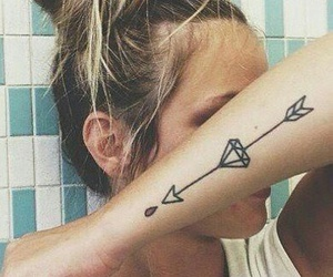 tattoo, arrow, and diamond image