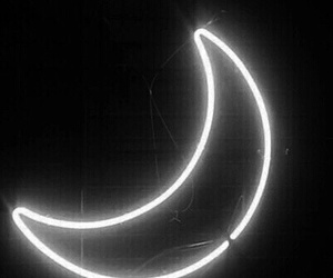 moon, light, and neon image