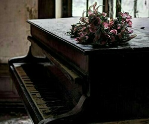 piano, flowers, and vintage image