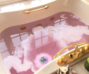pink, bath, and bathroom image