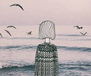 sea, bird, and art image