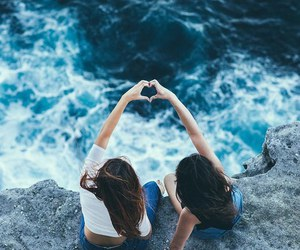 friends, sea, and heart image