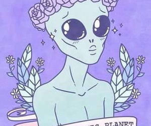 alien, flower crown, and Tattoos image