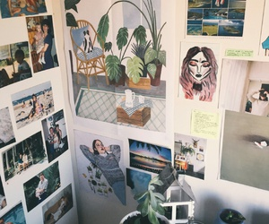 room, art, and plants image