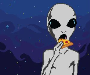 alien, pizza, and grunge image