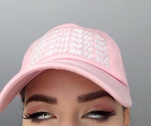 pink, eyebrows, and makeup image