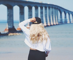 beach, bridge, and outfit image