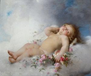 angel, flowers, and art image