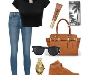 black, black shirt, and black sunglasses image