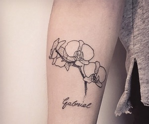 arm, dots, and orchid image