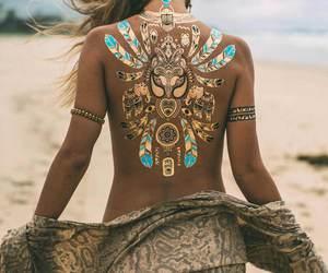 beach, tattoo, and girl image