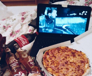 food, pizza, and girls night image