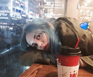 blue, sad, and hair color image