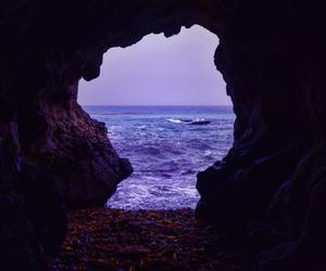 purple, sea, and cave image
