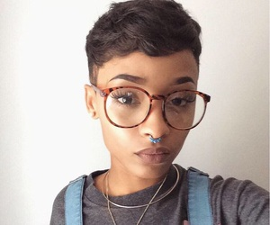 glasses, pretty, and short hair image
