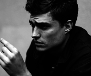 beautiful, black and white, and man image