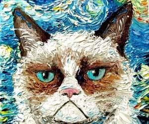 cat, art, and grumpy cat image