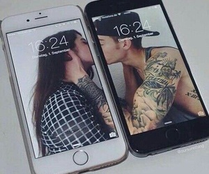 couples, iphone, and kissing image