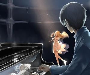 anime, shigatsu wa kimi no uso, and piano image