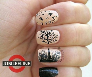 nails, tree, and black image