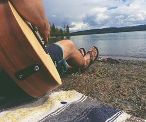 guitar, camping, and beach bums image