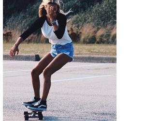 girl, vans sneakers, and skateboard image
