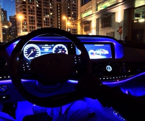 car, blue, and lights image