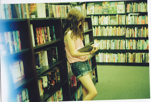 bookstore, girl, and reading image