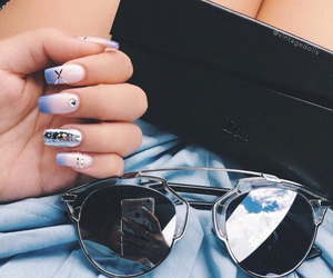 nails, sunglasses, and style image
