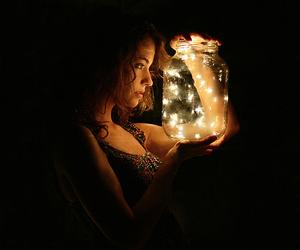 light, girl, and dark image
