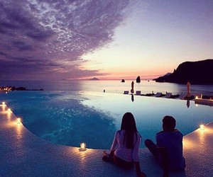couple, pool, and sky image