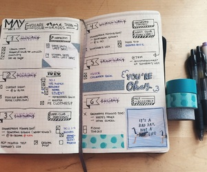 blue, bullet journal, and school image