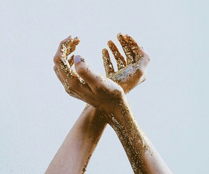 gold, hands, and glitter image