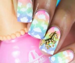 nails, nail art, and unicorn image