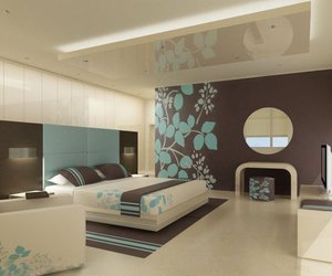 bedroom, brown, and design image